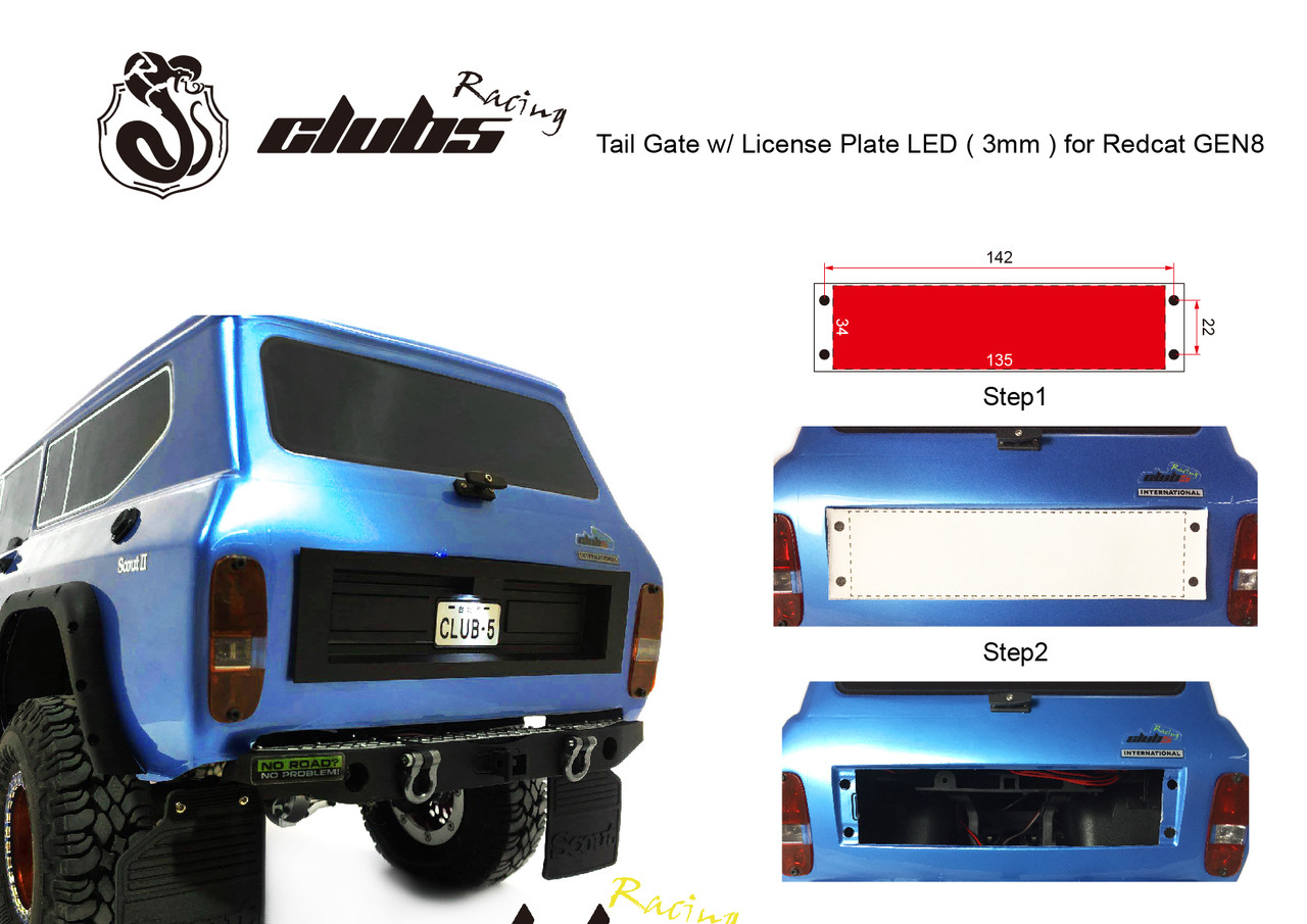 Tail Gate Panel w/ License Plate LED ( 3mm ) for Redcat GEN8