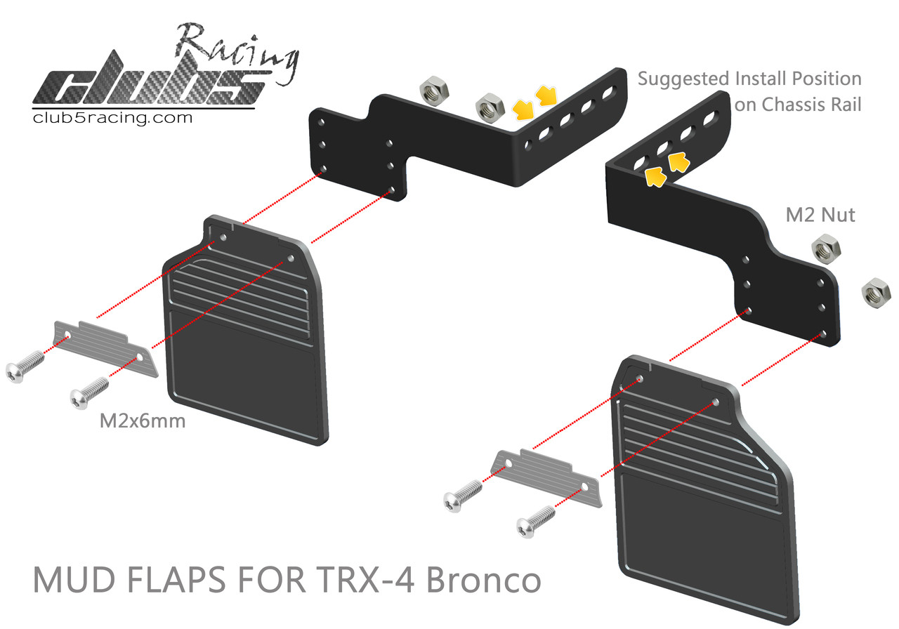 Rear Mud Flaps ( Bronco ) for Traxxas TRX-4 BRONCO Body