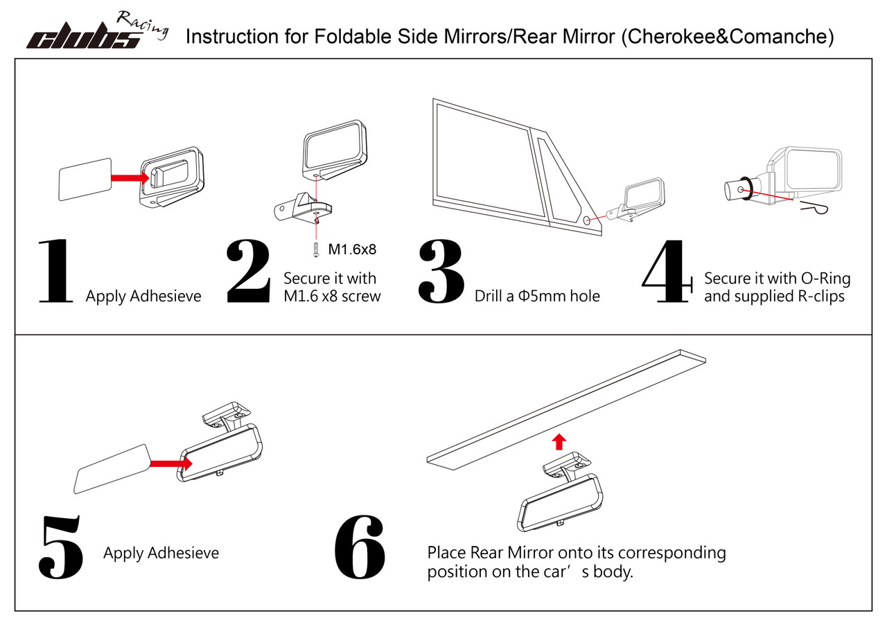 Foldable Side Mirrors / Rear Mirror Set for Jeep Cherokee XJ
