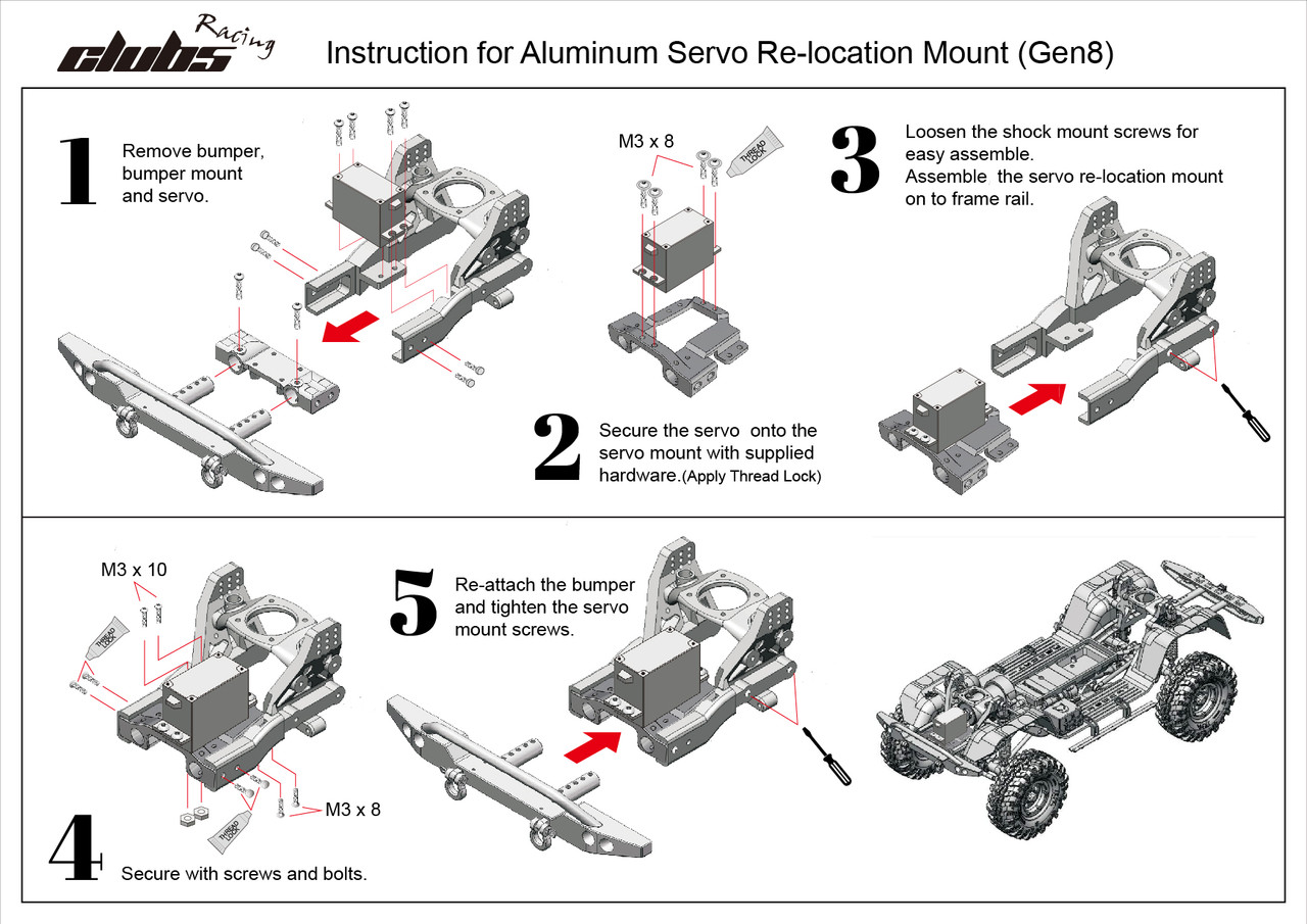 Aluminum Servo Relocation / Front Bumper Mount for Redcat GEN8