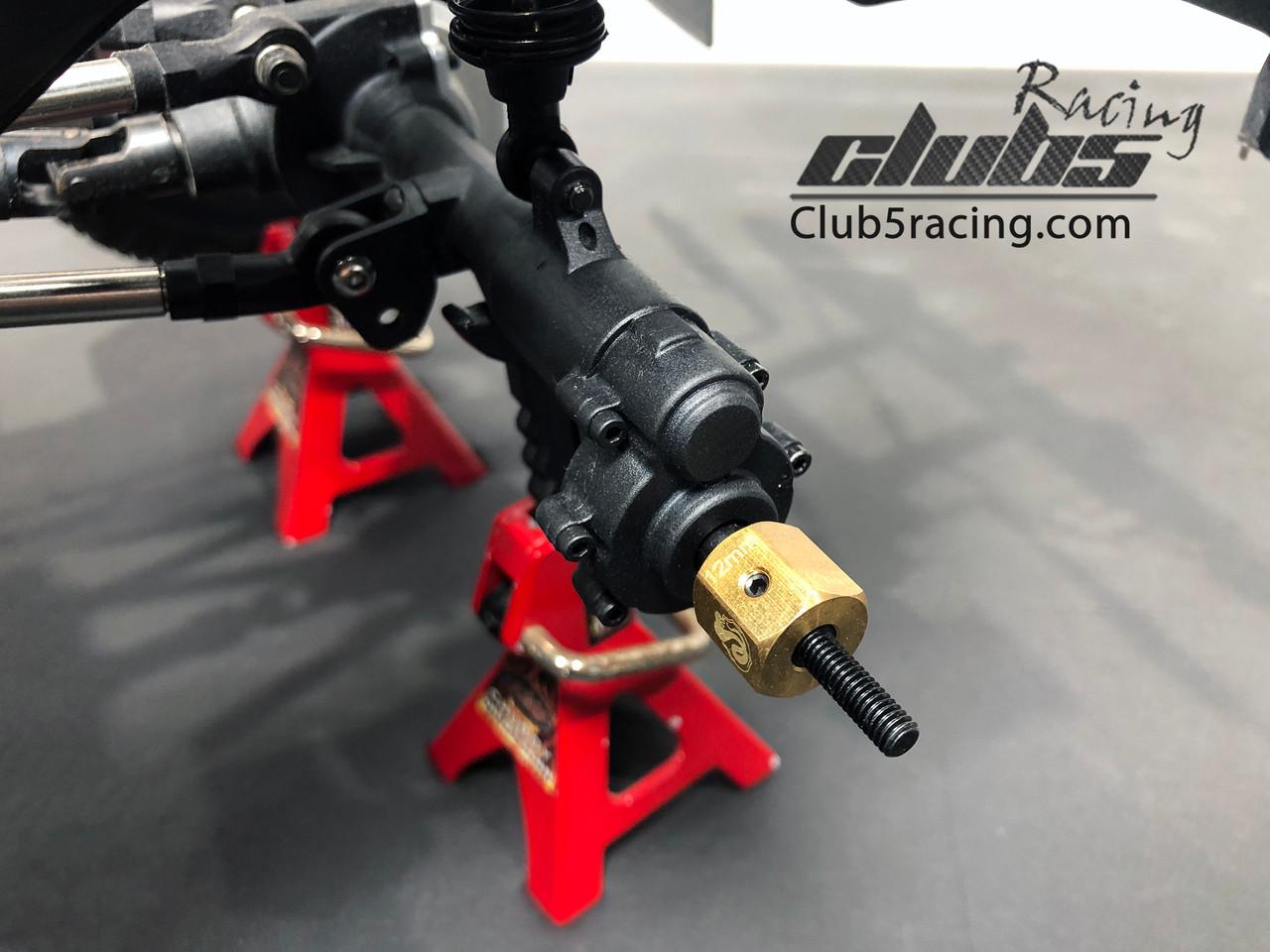 Brass Extended Wheel Hex 12 mm w/ Steel Stub Axles Set for Redcat GEN8 ( 2 )