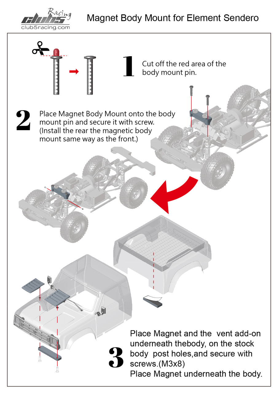 Magnetic Body Mount for Element Enduro Sendero ( F / R )