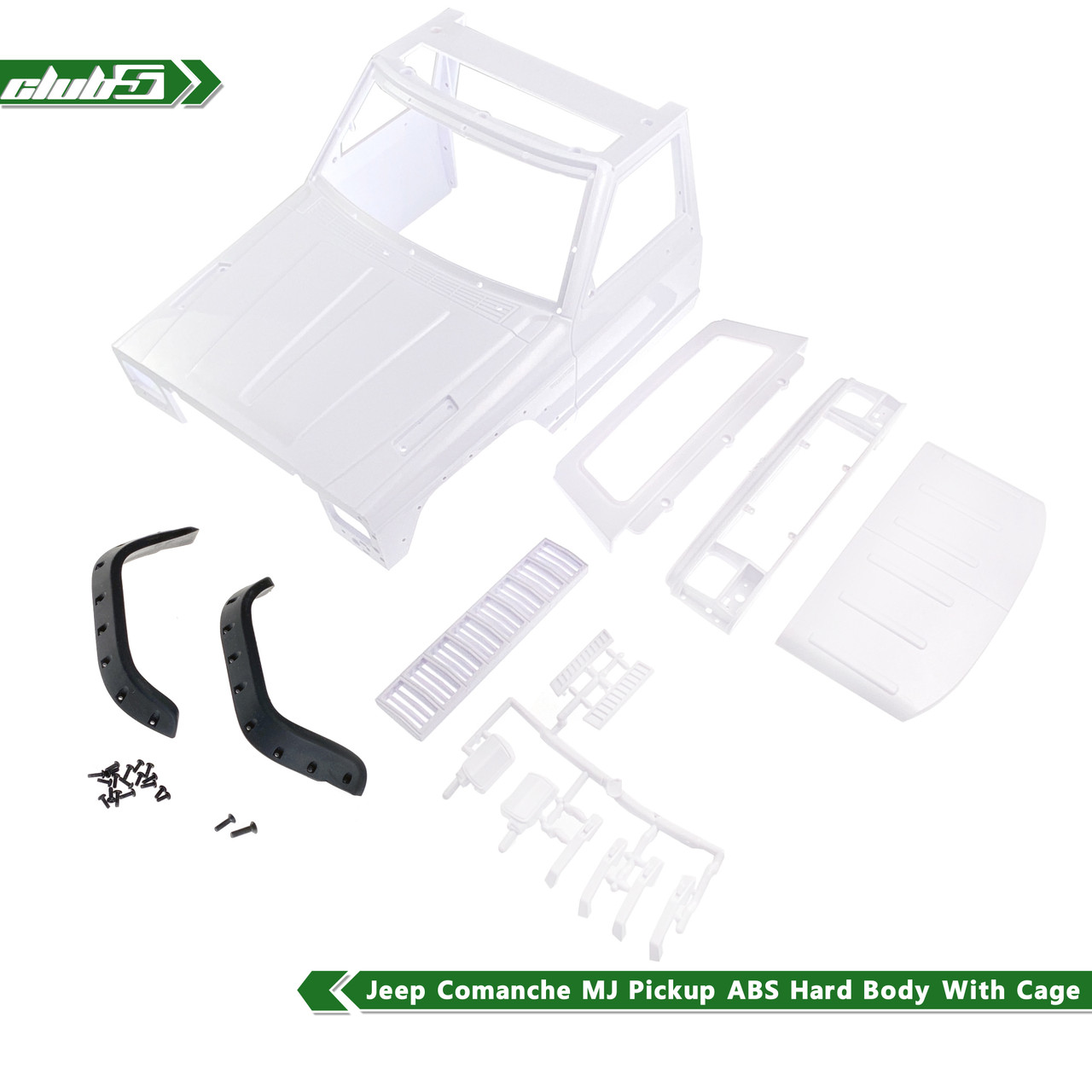 Cherokee Front Cab Hard Body w/ Back-Half Cage for 1/10 Scale Crawlers