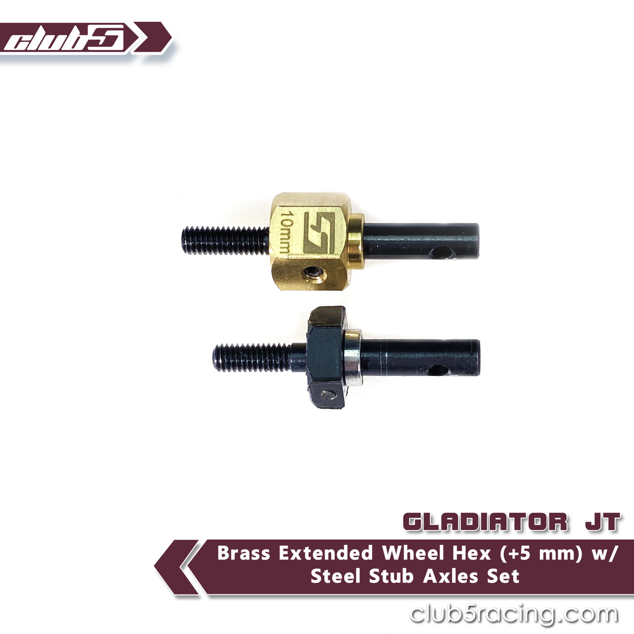 Brass Extended Wheel Hex (+5 mm) w/ Steel Stub Axles Set for SCX10 III Jeep JL Wrangler / JT Gladiator