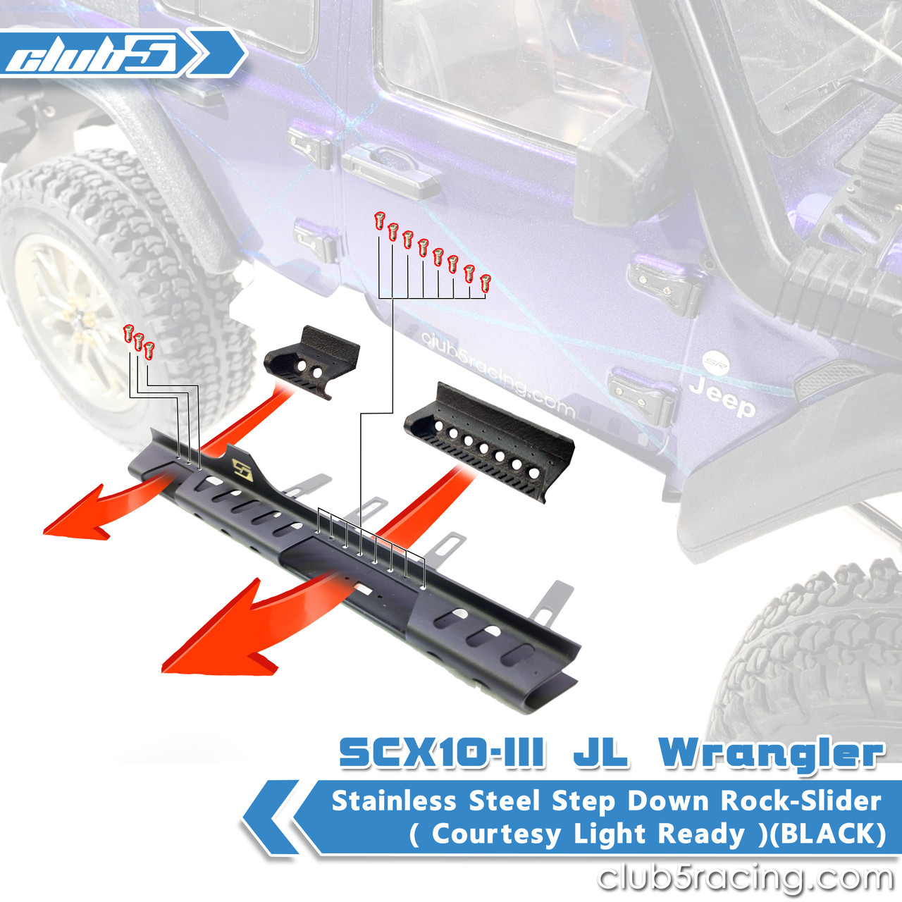 Stainless Steel Step Down Rock-Slider with Courtesy Lights for SCX10 III JL Wrangler