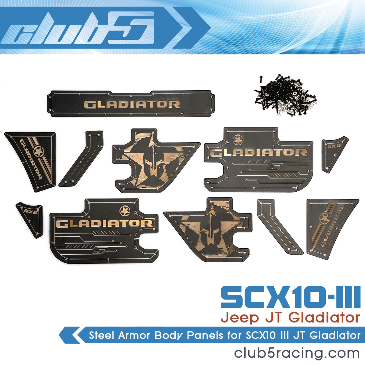 Steel Armor Body Panels for SCX10 III JT Gladiator ( 11 Pcs )