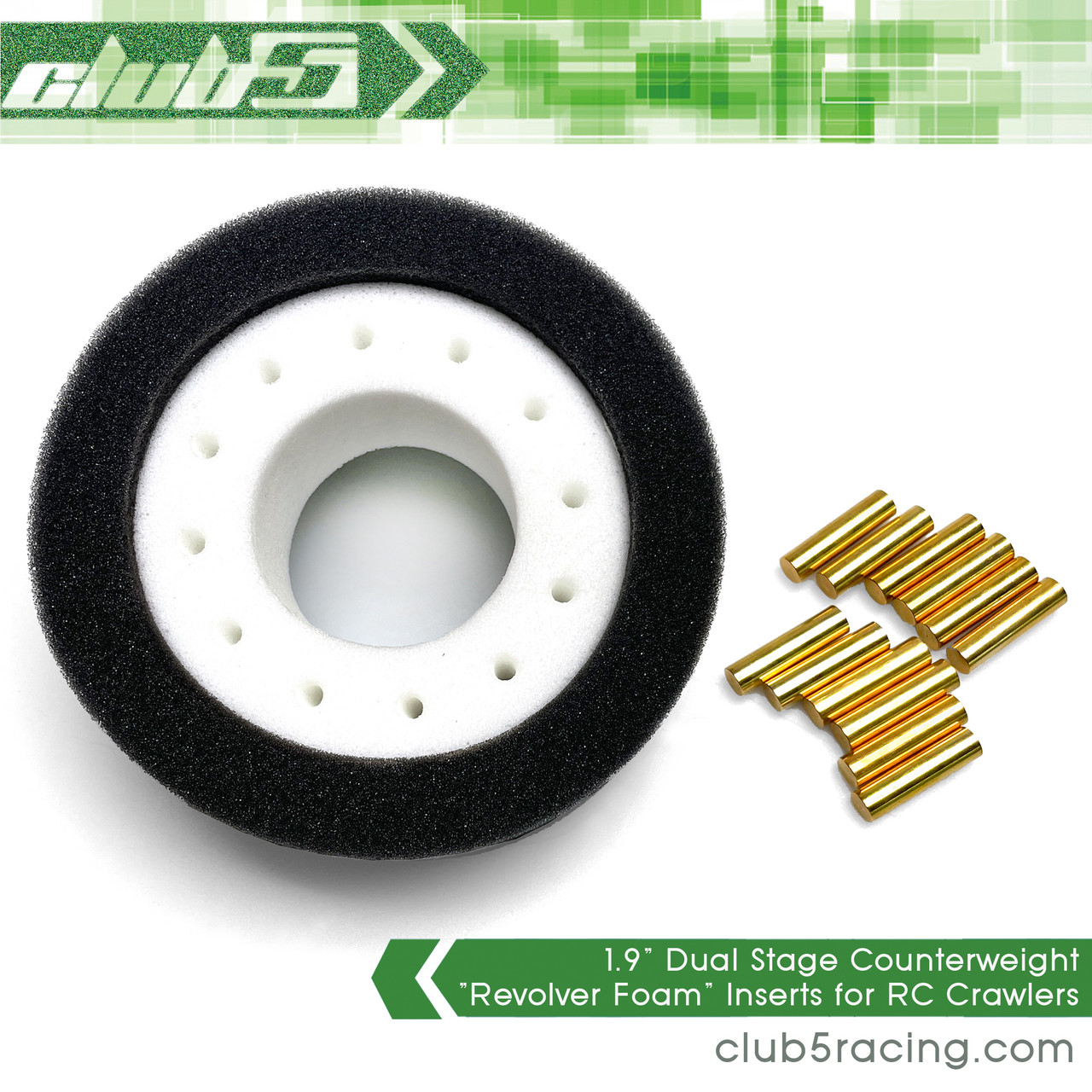 """1.9"""" Dual Stage """"Revolver Foam"""" Inserts (Adjustable  Counterweight) for RC Crawlers"""
