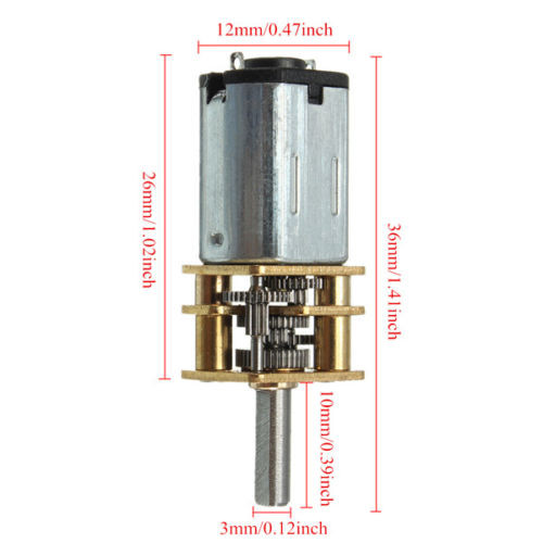 DC 6V 300 rpm N20 Motor with Metal Gearbox (2)