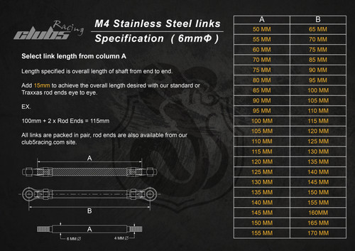 """Husky Link"" M4 HD 6mm Stainless Steel Links  ( 105 - 155mm ) / ( x 2 )"