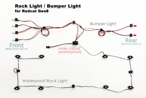 Rock Light / Bumper Light for Redcat GEN8 ( 6V. Waterproof )