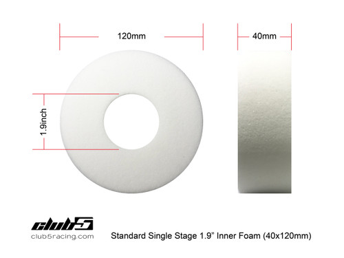 "1.9"" Single Stage High Density Foam Inserts ( 2 pcs 120 x 40 mm FIRM )"
