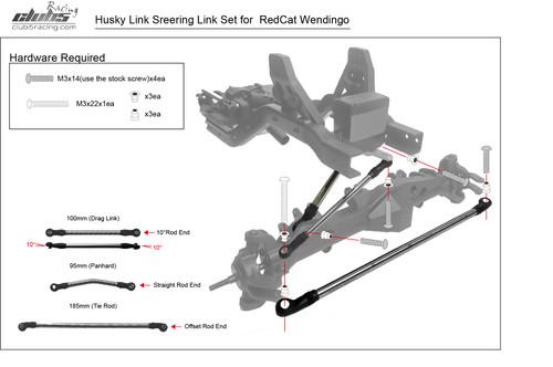 """Husky Link"" HD M4 Steering Links Kit for Redcat Wendigo ( 6mm Stainless Steel )"