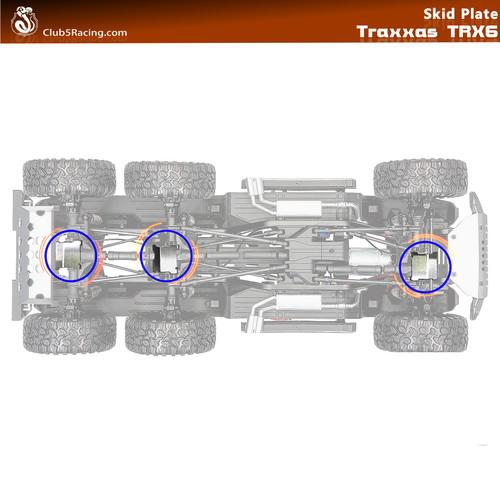 """Rhinoshield"" Stainless Steel Axle Skid Plate for TRX-6 G63 AMG 6x6 ( 3 pcs )"