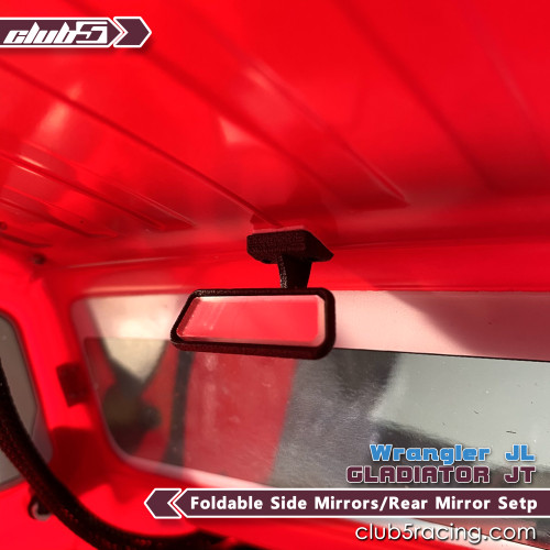 Foldable Side Mirrors / Rear Mirror Set for SCX10 III Jeep JL Wrangler / JT Gladiator