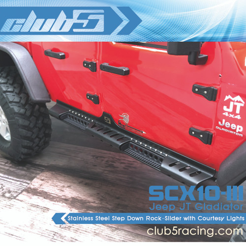 Stainless Step Down Rock-Slider w/ Courtesy Lights for SCX10 III JT Gladiator