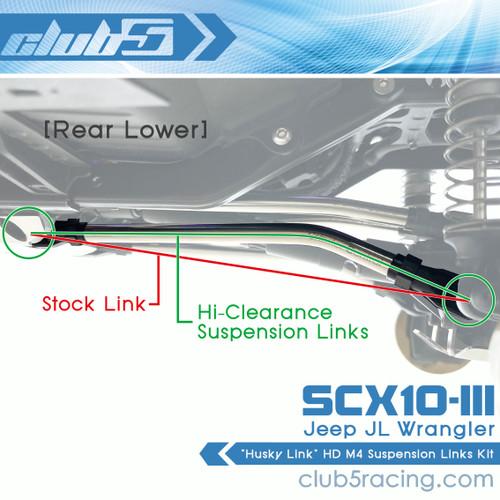 """""""Husky Link"""" HD M4 Hi-Clearance Suspension Links for SCX10 III JL Wrangler"""
