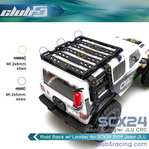 Roof Rack / Side Ladder for SCX24 2019 Jeep Wrangler JLU CRC