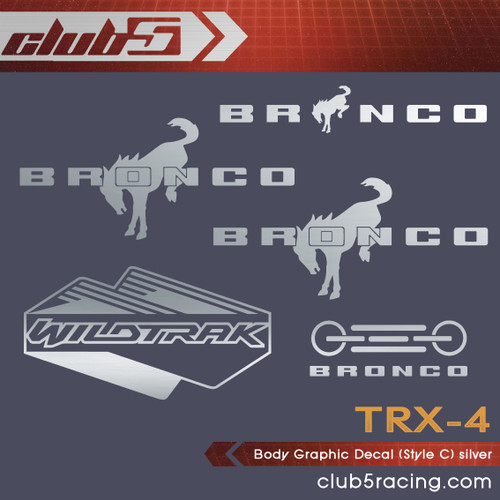 Body Graphic Decal for Traxxas TRX-4 2021 Ford Bronco ( C, Silver  )