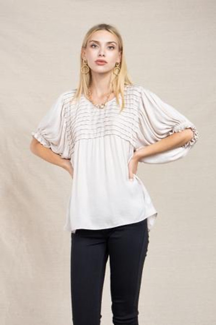 Bubble Sleeved Pintuck Top