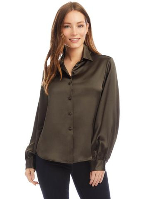 Blouson Sleeve Button Up Top