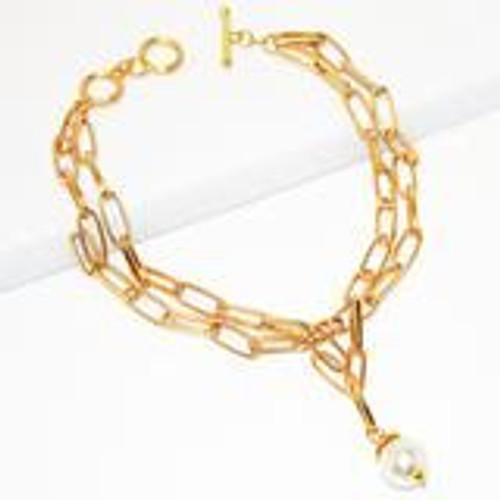 N70505-Gold Link Pearl Accent Necklacegold