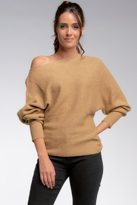 Glitter Detail Off The Shoulder Sweater