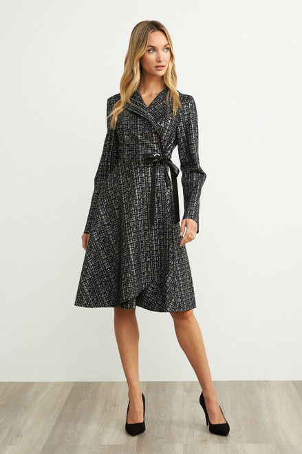 Plaid Tie Waist Coat Dress