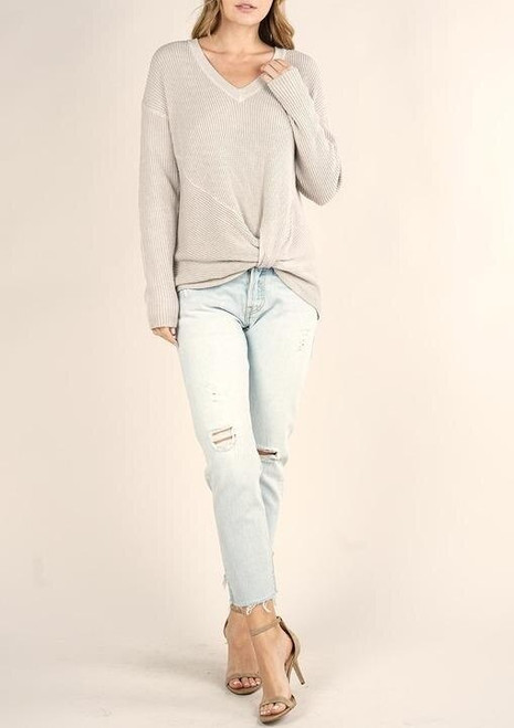 Waffle Knit Front Knot Sweater