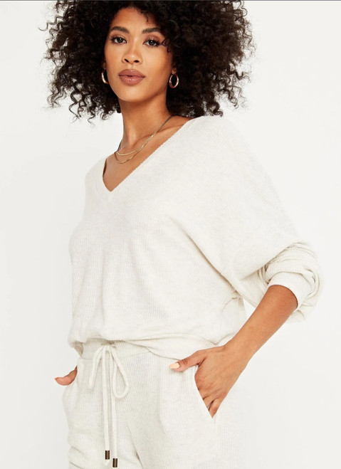 Brushed Rib V Neck Top