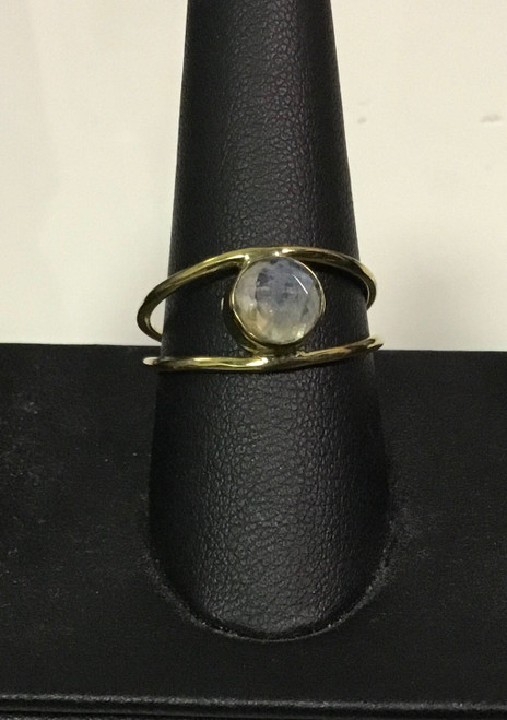 BR0070-Moonstone Stacked Ringmoonstone/gold