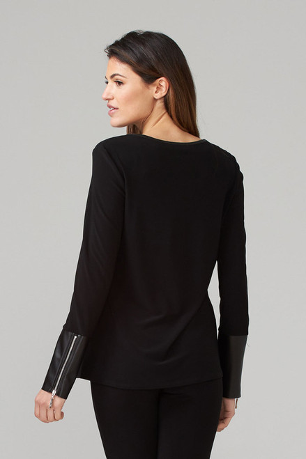 Leather And Zipper Detail Blouse