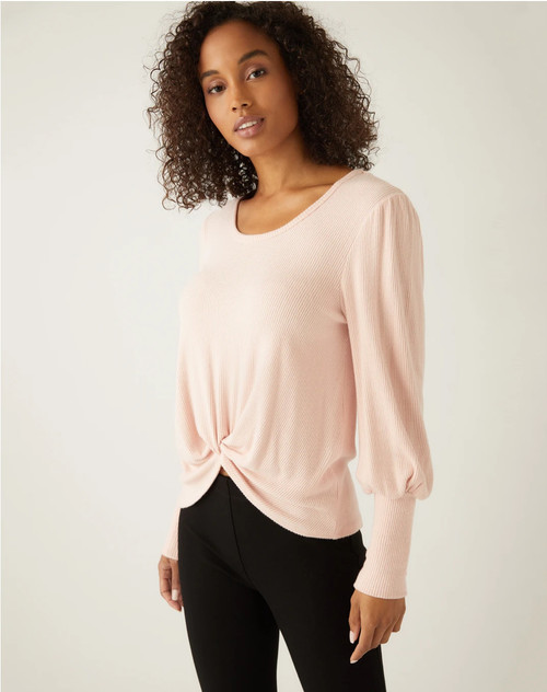Scoop Neck Twist Front Top
