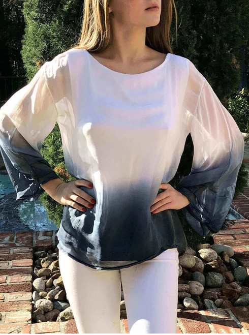 White/Royal Top Ombre One Size