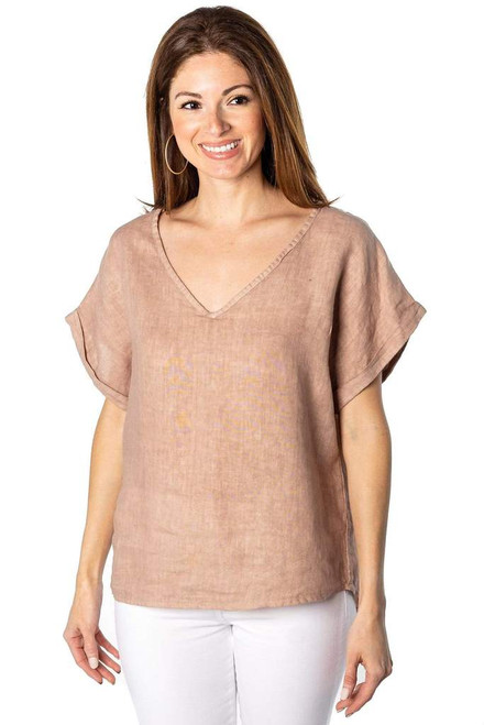 Andrea V Neck Linen Top brown One Size