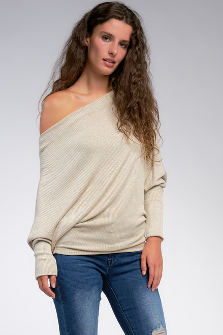 RMR1761-Ribbed Off The Shoulder Topheather greyOne Size