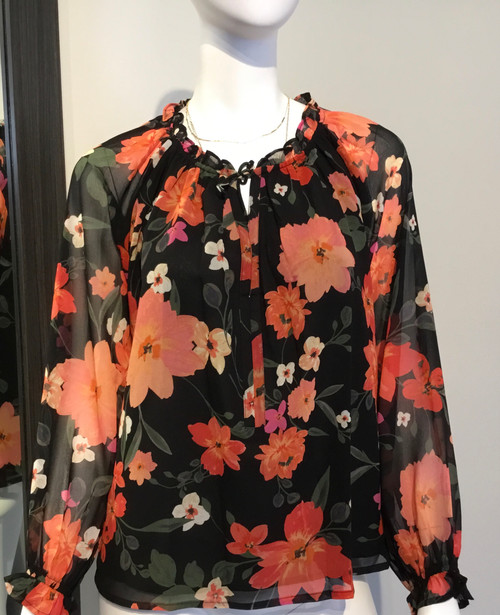 Frill Tie Neck Floral Top