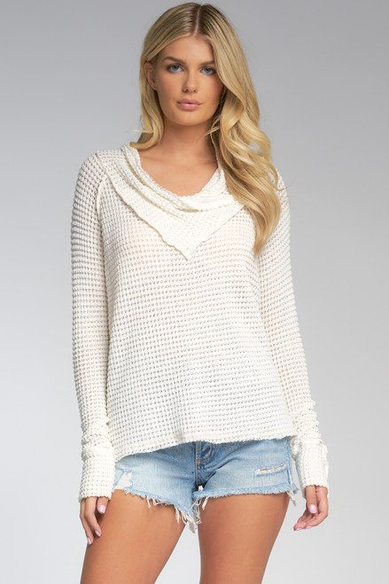 Cowl Neck Waffle Long Sleeve Top