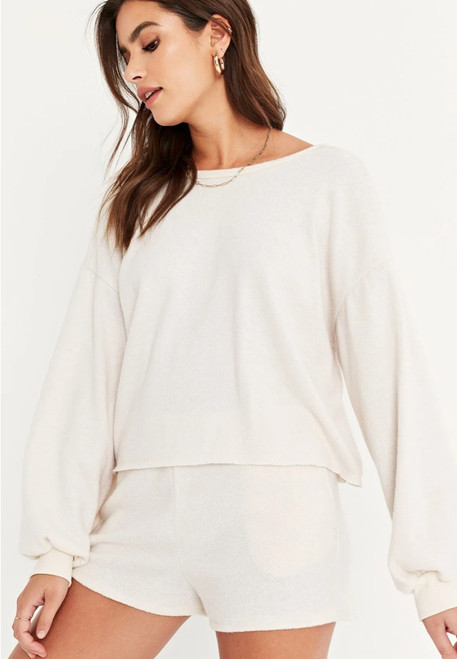 Plush Cropped Scoop Open Back Pullover