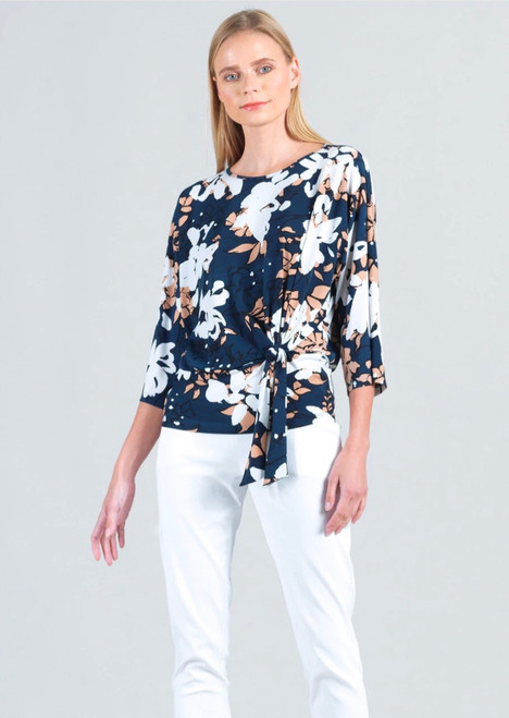 Floral Side Knot Knit Top