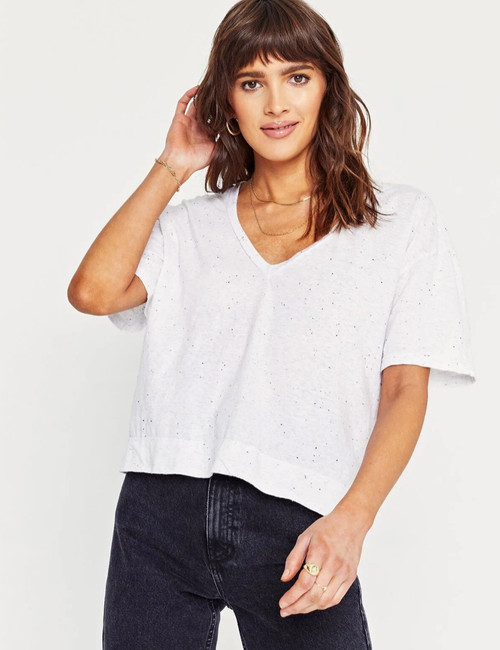 Aiden Boxy V Neck Tee