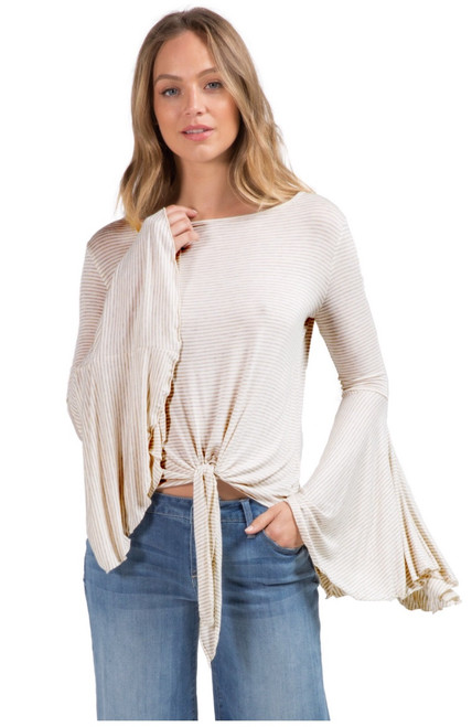 Boat Neck Bell Sleeve Top