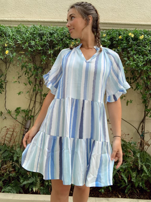 Flare Tiered Short Sleeve Dress
