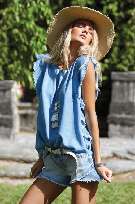 Ruffle Sleeve Denim