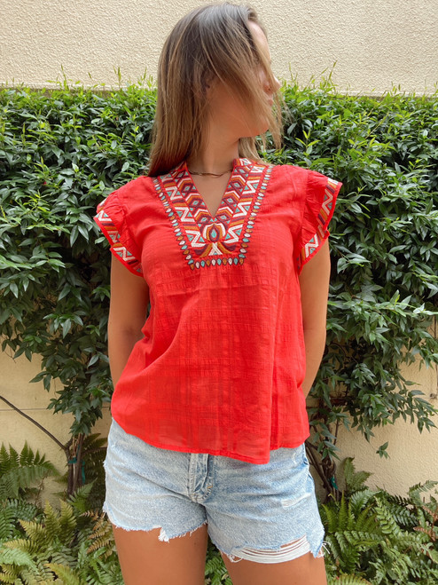 Delaney Embroidered Ruffle Top