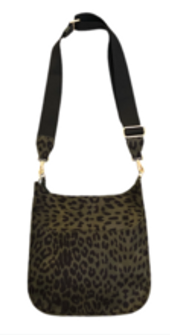 Army Leopard Suede Messenger With Strap