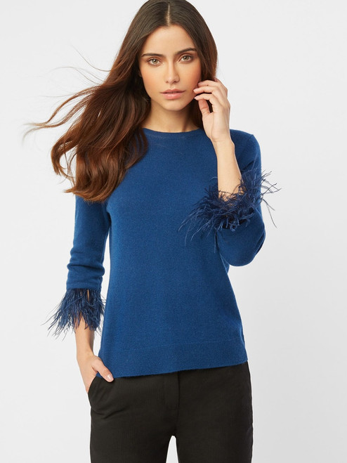 Cashmere Feather Cuff Pullover