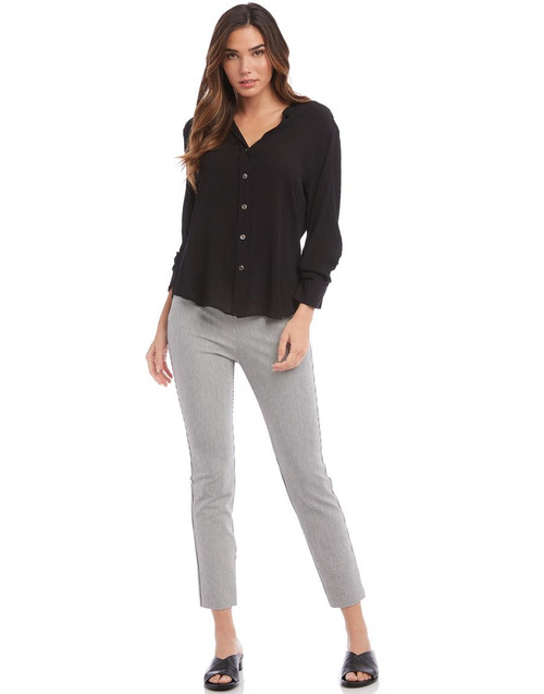 Fifteen Twenty Gray Pinstripe Slim Fitting Chic Pants