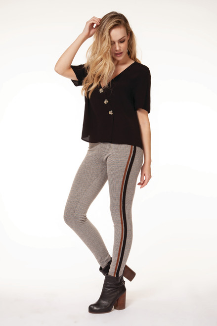 Dex Stone High Waisted Houndstooth Legging Front