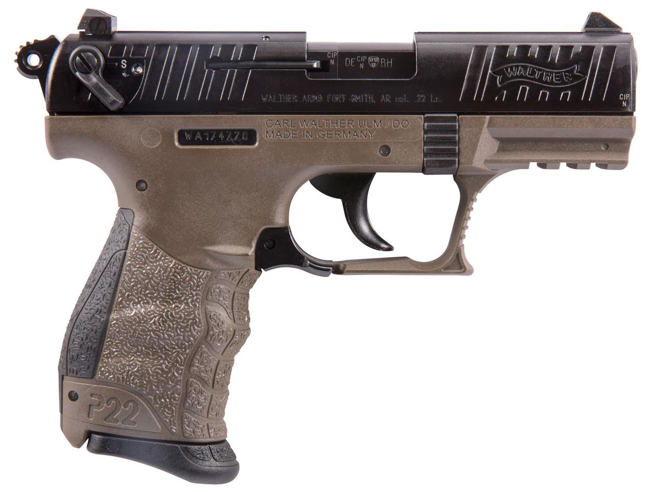 "Walther Arms P22 Limited FDE Frame Black Slide 3.4"" CALIFORNIA LEGAL - .22 LR"