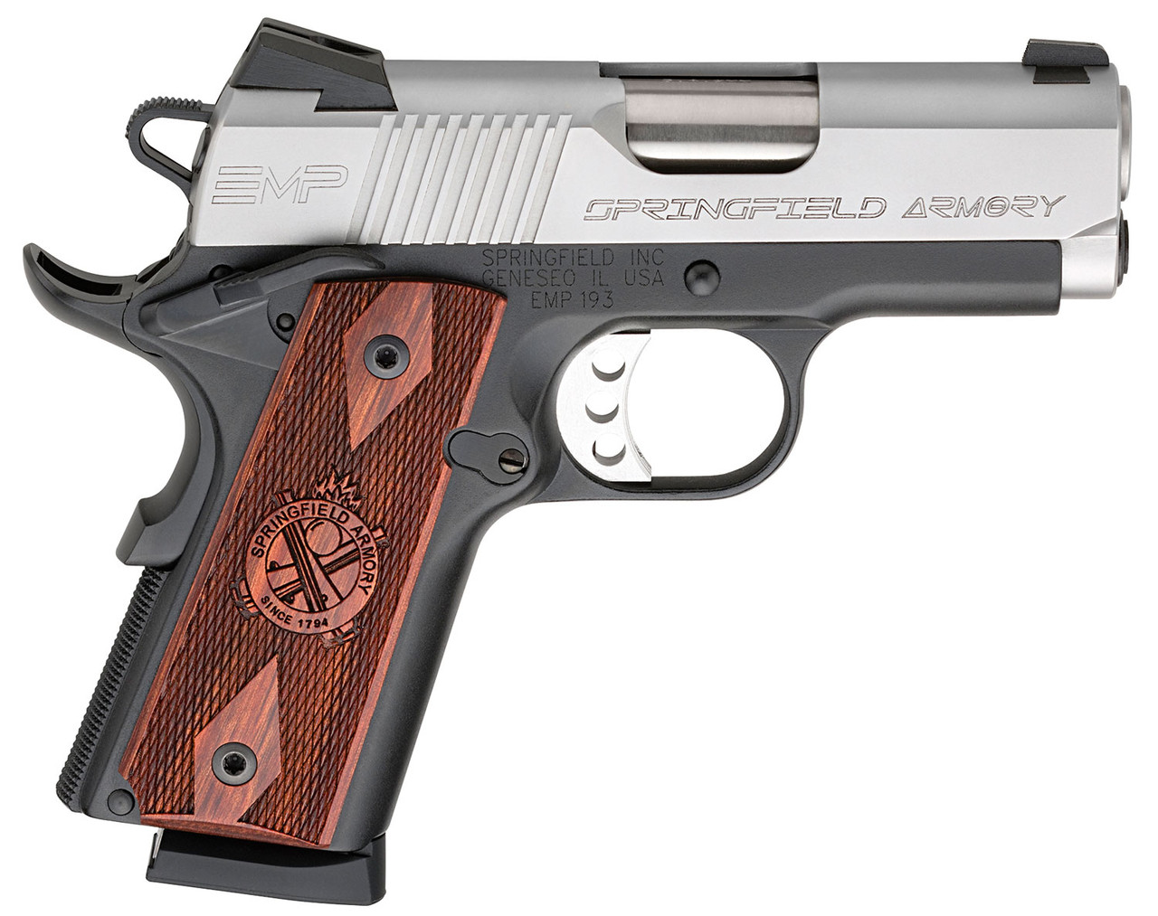 """Springfield Armory 1911 EMP Cocobolo Grip Stainless 3"""" CALIFORNIA LEGAL - 9mm"""